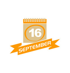 16 september calendar with ribbon vector image