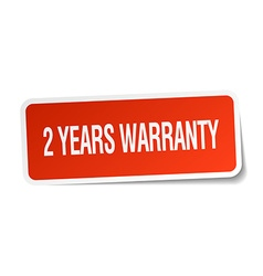2 years warranty red square sticker isolated on vector image