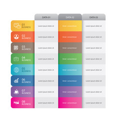 8 data infographics tab paper index template vector