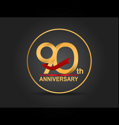 90 anniversary design golden color with ring vector