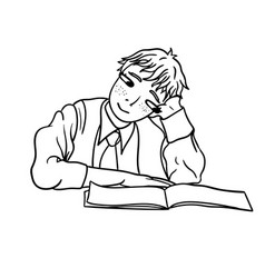 a contour drawing of a pensive student that looks vector image