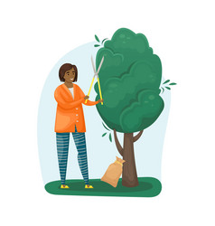 A girl cuts a tree with a pruner vector