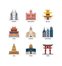 Asian cities and counties landmarks icons set 2 vector
