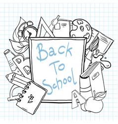 back to school sketchy notebook with lettering vector image