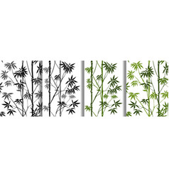 Bamboo seamless patterns set for natural repeat vector