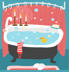 Bathtub filled with water duck with a washcloth vector