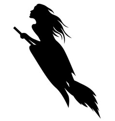 beautiful halloween witch silhouette vector image