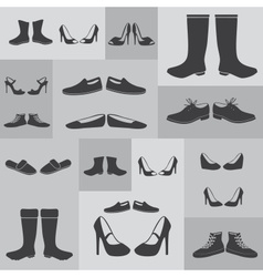 black boots and shoes on gray background eps10 vector image