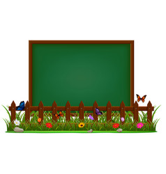Blackboard on the garden vector