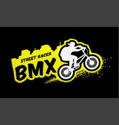 bmx racer emblem in grunge style vector image