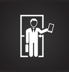 Businessman going to job on black backround vector