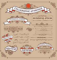 calligraphic and ribbon banner design elements vector image