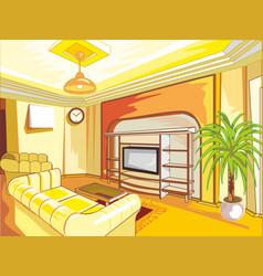 cartoon drawing-room interior in shades of yellow vector image