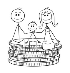 cartoon happy family sitting on small stack of vector image