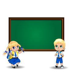 cartoon schoolgirl and schoolboy standing near vector image