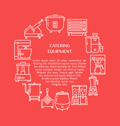 Catering equipment round concept banner in line vector
