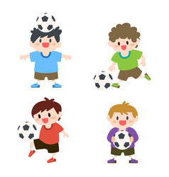 Children little boys playing soccer football vector