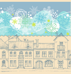 Christmas card blue sky snowflakes border vector