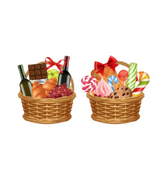 christmas gift baskets realistic food packaging vector image