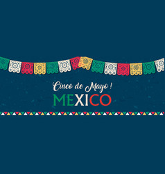 Cinco de mayo paper flag banner for mexico holiday vector