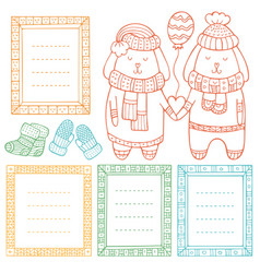 Collection doodle winter borders vector