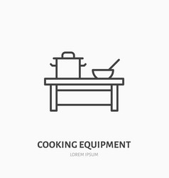 cooking equipment flat line icon table with pan vector image