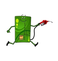 Credit card character with gasoline pump vector