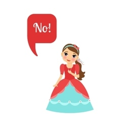 Cute cartoon princess with speech bubble vector