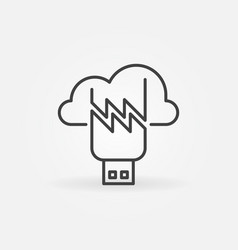 damaged usb flash drive with cloud outline vector image