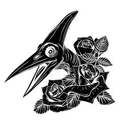 Dinosaurus pterodactyl head black silhouette art vector