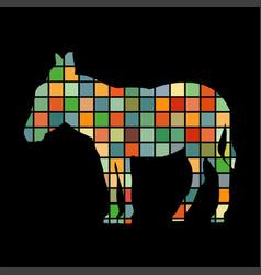 donkey farm mammal color silhouette animal vector image