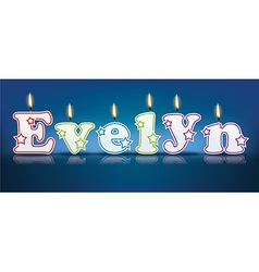 EVELYN written with burning candles vector image