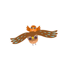 father owl and his owlet flying together happy vector image