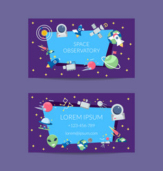 flat space icons business card template vector image