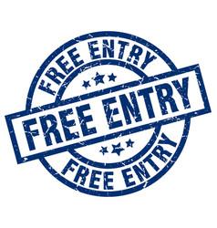 free entry blue round grunge stamp vector image