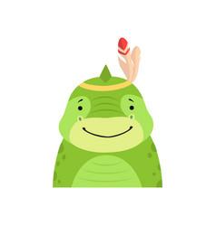 Funny dinosaur in feathered headgear cute cartoon vector