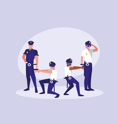 group of policemen avatar character vector image