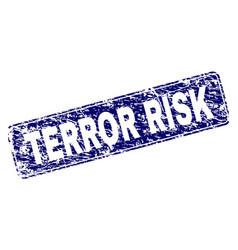 Grunge terror risk framed rounded rectangle stamp vector