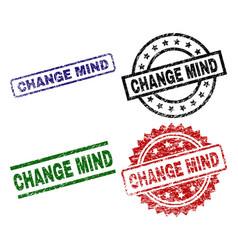 Grunge textured change mind stamp seals vector