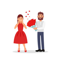 guy giving flowers to his girlfriend young woman vector image