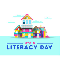 Happy literacy day book house card concept vector