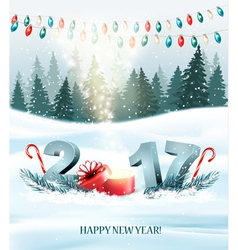 happy new year 2017 nature background vector image
