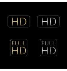 HD and Full HD icons vector image