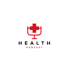 health podcast logo icon for health blog video vector image