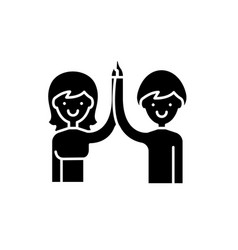 high five black icon sign on isolated vector image
