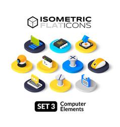 Isometric flat icons set 3 vector