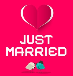 Just Married Pink Retro Card with Love Birds and vector image