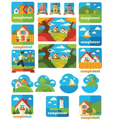 Landscape emblems vector