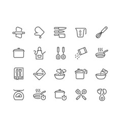 line cooking icons vector image