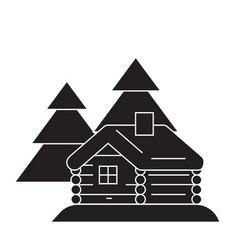 log cabin black concept icon log cabin vector image